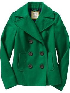 Kelly Green pea coat Old Navy $45.00 fashion, pea coat, style, color, green peacoat, green coat, old navy, peas, coats