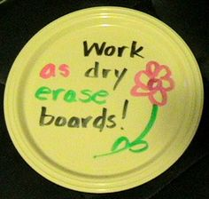 Plastic plates work perfectly as mini dry erase boards! (I never realized this . . .)