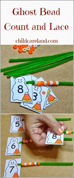 Ghost Bead Count and Lace ... for math and fine motor. halloween teach, bead count, ghost math, sensorimotor classroom, preschool ghosts math, ghost bead, beads, fine motor, spelling words