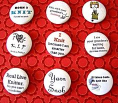 Knitting Pinback Buttons (9 Pack) from Lion Brand Yarn