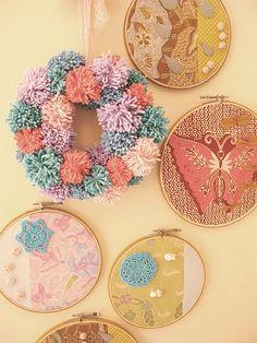 yarn pom pom wreath.
