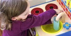 Learning through pretend play: Fun kitchen learning. #preschool #ece