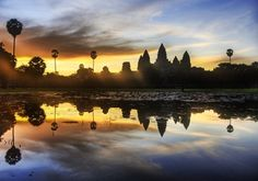 """Angkor Wat (""""City Temple"""") is a vast temple complex near Siem Reap, about 200 miles from the capital of Phnom Penh in Cambodia.    http://www.sacred-destinations.com/cambodia/angkor-wat"""