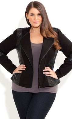 City Chic - SPLICED SURI JACKET - Women's plus size fashion