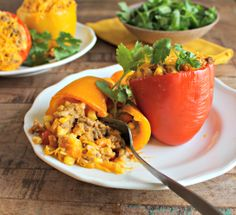 Stuffed Sweet Potato and Taco Peppers. This can easily become a vegetarian meal!