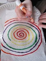 use markers in rainbow color on paper towel.  After lines are drawn spritz with spray bottle and cut into rectangles to form a rainbow shape on construction paper. repinned by @PediaStaff – Please Visit http://ht.ly/63sNt for all our pediatric therapy pins