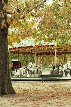 Carousel at the Tuileries Garden in Paris.