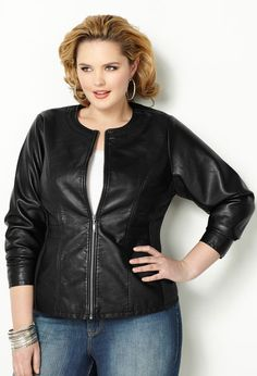 Faux Leather Jacket with Knit Inset