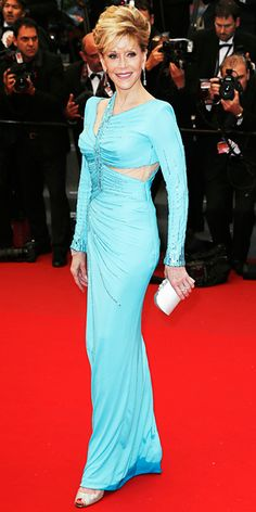 gorgeous Jane Fonda in a turquoise Atelier Versace in Cannes 2013