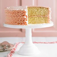 I love this cake.  It's beautiful and very presentable, but so simple and easy. vanilla cake, frosting techniques, vanilla ruffl, ruffle cake, almond butter, ruffl cake, homemade vanilla, buttercream frosting, cake recipes