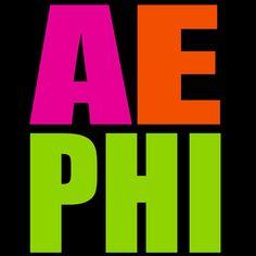 Alpha Epsilon Phi neon letters screen print design