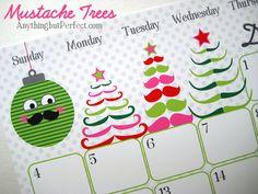 moustache trees! printable calendar mustach christma, printabl calendar, christma tree, free printabl, christmas trees, printable calendars