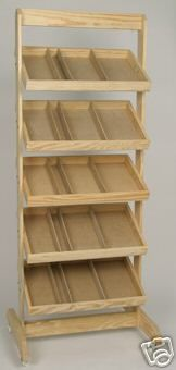 Wooden Retail Display Bakers Crate Rack w/ Wheels New *** make the shelves tipable with pin lock so it could be flattened and shiped from show to show. just fold and go.