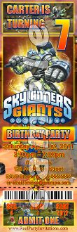 SKYLANDERS GIANTS TICKET STYLE INVITATIONS (WITH ENVELOPES)