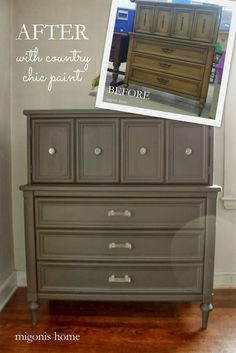 1970s dresser makeover in Country Chic Paint's Dark Roast