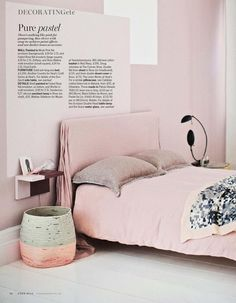 Pink bedroom in the June 2014 issue of Living Etc.