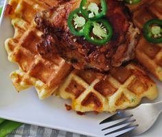 Jalapeño-Cheddar Waffles.  I'm thinking of topping these with shrimp étouffée for a Cajun themed station at a wedding with a Mardi Gras twist.