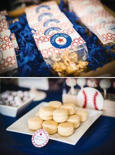 Baseball party inspiration board by Bella Bella Studios ~ Cute ideas! Photos via hwtm. #baseball #cupcakes #party #cakepops #ball #bat #crackerjacks #popcorn