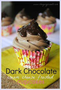 Dark Chocolate Cupcakes with Chocolate Cream Cheese Frosting and Chocolate Ganache @Liting Mitchell Sweets