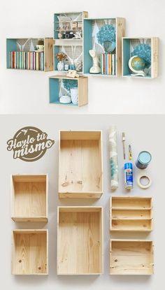 Un proyecto sencillo para tus espacios, hechos con cajas de madera.