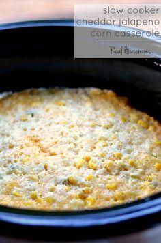 Slow Cooker Cheddar Jalapeno Corn Casserole | Real Housemoms