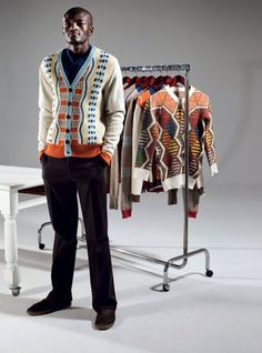 Laduma Ngxokolo. MaXhosa by Laduma is a distinctive knitwear brand that is rooted in Laduma Ngxokolo's journey into creating Xhosa-inspired knitwear. #African #style #South_Africa