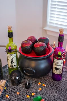 Halloween treat, Poison Apples: Melt chocolate chips over medium heat and stir in your favorite caramel sauce. As the chocolate and caramel mix, add in drops of black food coloring until the mixture reaches a desired shade of black. Hold a red delicious apple by the stem and dip halfway into caramel and chocolate until evenly covered. Place on a dish covered in wax paper and put in refrigerator to cool.