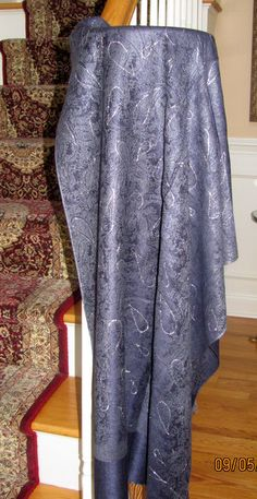 Evening shawls sale.  Shawl name: Navy Grey Evening Shawl With Silver Accents