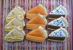 pie slice, cake, thanksgiv, food, pies, slice cooki, cookies, pie cooki, decor cooki