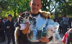 """""""Game of Bones"""" Pet-fashion designer Anthony Rubio dressed his pups Bogie (left) and Kimba as Jon Snow and Daenerys Targaryen from the popular HBO show """"Game of Thrones"""" from America's Weirdest - and CUTEST! - Parade! http://budgettravel.com/slideshow/americas-weirdest-and-cutest-parade,47636/"""
