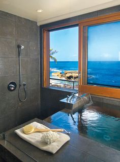 ... Infinity tub into the shower