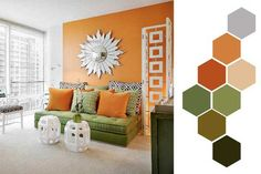 orange & green living room