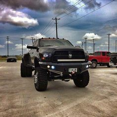 lifted black Dodge truck