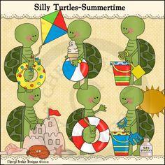 Silly Turtles Summertime 1 - Whimsical Clip Art by Cheryl Seslar