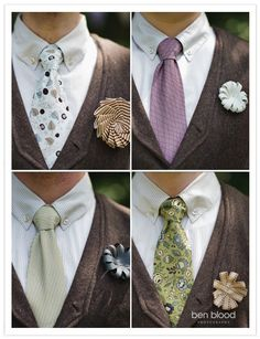 diy fabric wedding boutonnières for the guys