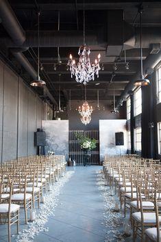 elegant industrial ceremony space, photo by Jarusha Brown