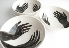 Grasp Porcelain Bowls set of 3 by flatearthstudio on Etsy, $135.00