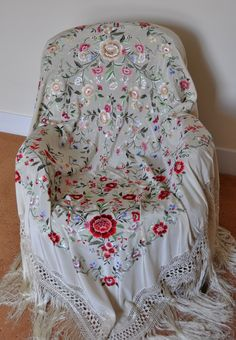 Collectable hand embroidered piano shawl, mantones. £679.99, via Etsy.