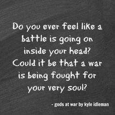 """FYI-Check out his book """"gods at war"""" by Kyle Idleman. He also has another book """"Not a Fan"""" that is EPIC!!!! Seriously."""