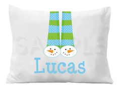 Snowman Personalized Pillow Case by TheTrendyButterfly on Etsy,