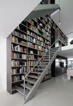 interior design, lofts, dream homes, architecture interiors, vertic loft, book, wall shelves, librari, home decorations