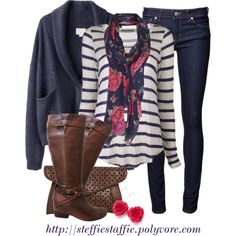 Casual Blue Stripes With Floral Scarf