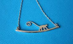 Monkey necklace  sterling silver monkey by SilverTemptation, $38.00