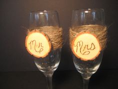 Rustic Wedding Bride and Groom Champagne by YourDivineAffair, $22.00