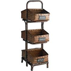 Triple tier basket with chalkboard labels - great looking and great for storage in the kitchen..