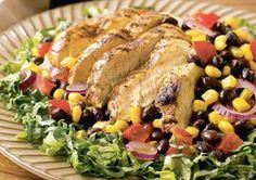 Chili-Grilled Chicken Salad  Eating salad for dinner can be a healthy option for a low-fat, good-carb diet plan. By adding black beans and corn, you can amp up the protein, fiber, and flavor.