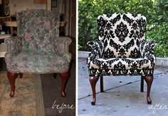 easy steps to reupholstering a wingback chair!