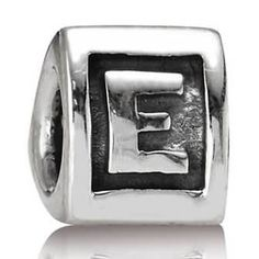 Letter E Charm Sterling Silver