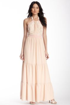 Jealous Tomato Crochet Top Halter Maxi Dress//