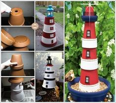 Craft Clay Pot Lighthouse is Such a Fantastic Idea for Your Garden